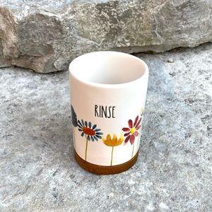 Rae Dunn RINSE Ceramic Floral Cup Bath Accessory